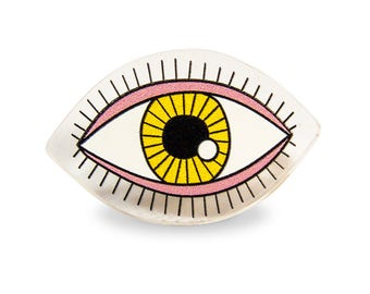 Eye Pin Perspex - Weird Yellow Pink Kawaii Colorful Pop Transparent Perspex Acrylic Laser Cut Kitschy Kitsch Rad Edgy
