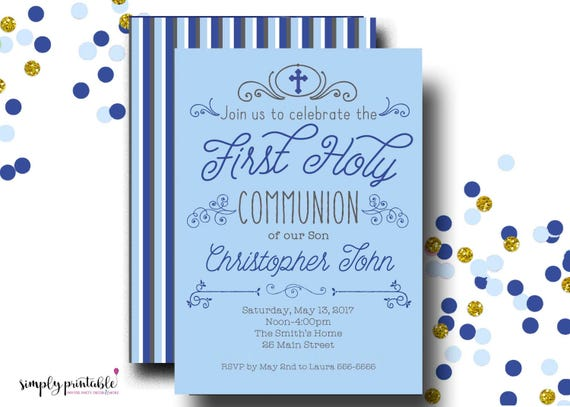 Boys 1st Communion Invite, First Communion Invitation, Baptism, Christening, Blue