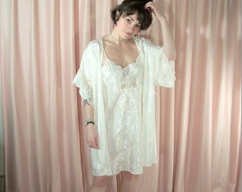 White Satin and Lace Peignoir Set, Nightie and Robe