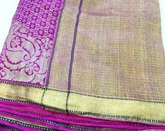 Antique Fuchsia and Gold Thread Silk Sari Fabric