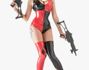 "Harley Quinn corset 24"" for a 27-29"" waist Red & Black pvc Angled Long underbust corset from Artifice Clothing"