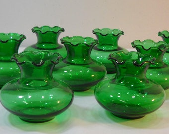 "Vintage Lot Of 8 Small Scalloped Top Forest Green Glass 3 1/4"" Flower Vase"