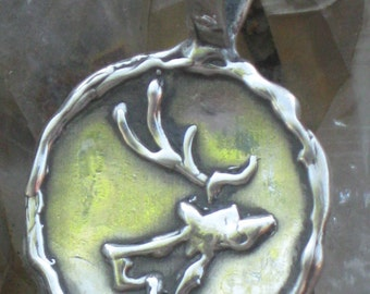 Sterling Silver Elk Head Silhouette Pendant.Deer Necklace.Hunting Jewelry.Wildlife Jewelry.Elk Charm.Southwestern Jewelry.