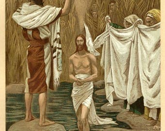 Baptism of Jesus by J. James Tissot, Antique Religious 9x12 Art Print c1897, John the Baptist, FREE SHIPPING