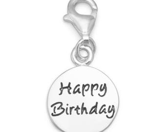 Sterling Silver Happy Birthday Charm Pendant with Lobster Claw Clasp