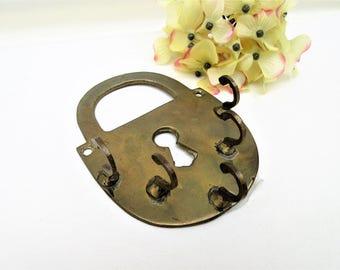 Vintage Brass Key Hook   Wall Key Rack   Brass Key Display   Metal Key Holder   Pad Lock