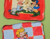 SET OF TWO, Toy Metal Childs Tray, Ohio Art Tin Tray with Girl and Boy and Daisy and Girl Hugging Doll