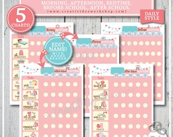 Routine Chart BUNDLE | 5 Charts! | Daily | Morning, Afternoon, Bedtime, Before School and After School | Pink | Children's Charts | Chores