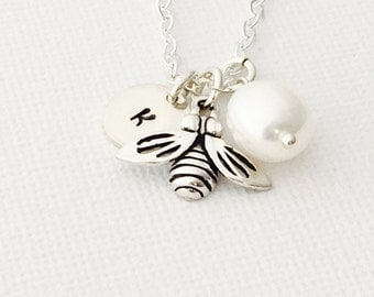 Personalized Sterling Silver Honey Bee Necklace, Freshwater Pearl , Sterling Silver Chain, Monogrammed Gift Under 40