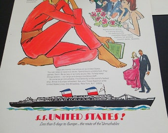 1960s Travel Ad - ss United States Cruise Line - Lady in Red - Trans-Atlantic European Travel Fastest Ship Meyer Davis