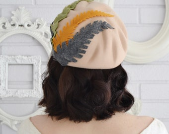 1960's Tan Wool Hat with Felt Leaves by Glenover, Vintage and Upcycled