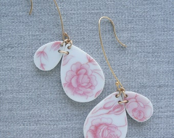Rose Double Drop Earrings Broken Recycled China Jewelry Material and Movement