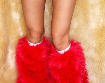 Red Rave Fluffies GoGo Bootcovers
