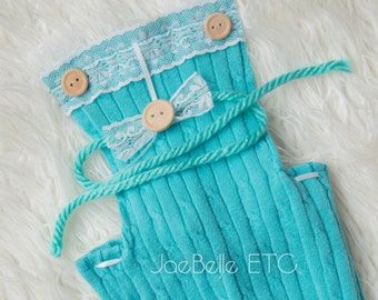 Preppy Baby Classic Teal Upcycled Infant Overalls + Tieback Photo prop