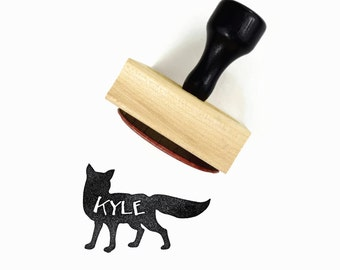 Custom Fox Name Stamp - Custom Personalized Name Forest Party Favor Stamp - Wood Mounted Rubber Stamp - DIY Craft Gift for Boys and Girls