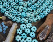 Arctic Blue Ridges : Large Hole Hand Carved Rondelle Bone Beads, 13.5x9mm, Natural Boho Craft Jewelry Making Supply, Bohemian, Beach, 20 pcs