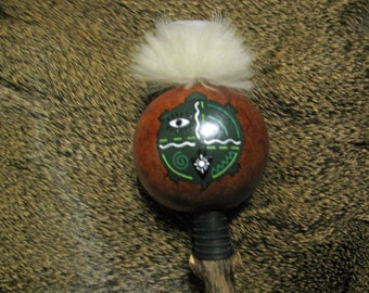 Turtle Totem Rattle , Gourd Rattle , Gourd Shaker , Animal Totem , Turkey Feathers , Leather Wrapped Handle , Hand Painted , Spiritual Tool
