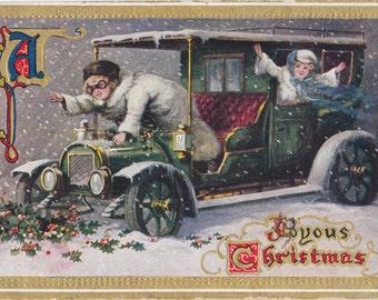 A Joyous Christmas- 1910s Antique Postcard- Edwardian Motorists- Automobile- Holiday Decor- Paper Ephemera- Used