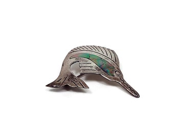 Inlaid Abalone Sterling Silver Vintage Swordfish Brooch Pin Marlin Fish Mexico Signed  Nautical Ocean Animal Jewelry