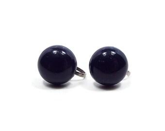 Dark Blue Vintage Screw Back Earrings Round Silver Tone Retro Womens