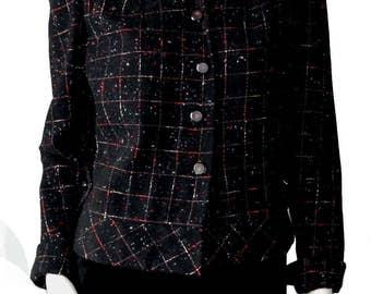 Vintage 1950s Salt and Pepper Tweed Suit Jacket Size 6 Red and Black