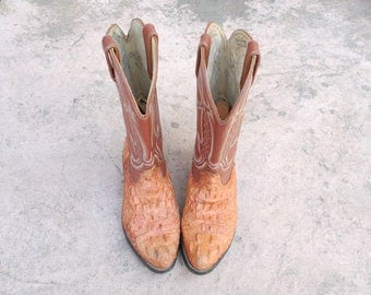 Vintage Mens 6.5e Durango Cowboy Riding Boots Tall Pull On Country Western Genuine Crocodile Alligator Ostrich Exotic Southwestern Mexican