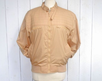 Quilted Canvas Bomber Jacket 1980s Beige Tan Zipper Front Vintage Members Only Style Jacket Large