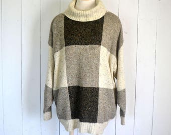 Oversized Slouchy Sweater 1980s Beige Brown Color Block Vintage Cowl Neck Sweater Medium Large