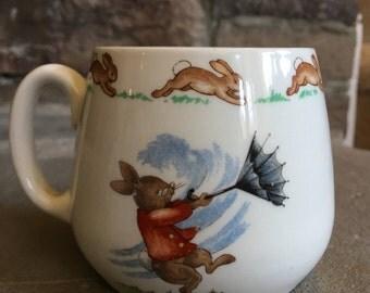 Bunnykins Don Mug Windy Day Royal Doulton Vintage Fine Bone China Made In England ~ #D2133