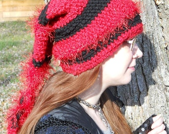 Red and Black fuzzy crocheted Elf Hat