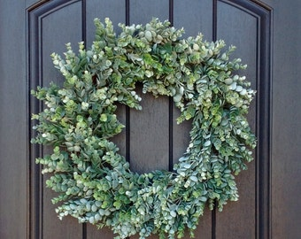 Spring Wreath-Summer Wreath-Fall Design-Grapevine Door Wreath-Frosted Eucalyptus-Indoor/Outdoor Decoration-Use Year Round