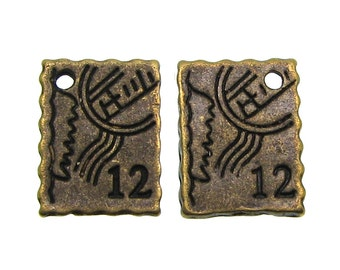 Bronze Charms : 10 Antique Bronze Vintage Postage Stamp Charms (double-sided) -- Lead & Nickel Free 21180.R
