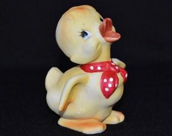 Vintage Duckling Figurine with Red Polka Dot Bandana