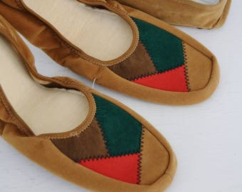 Vintage Faux Suede Brown Folding Travel Slippers with Carrying Case by Etell Size 6 - 6.5