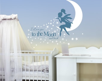Fairy wall decal nursery decor fairies, I Love You to the Moon Nursery Wall Art Fairy, Pixiedust fairy, Fairy Wall Art, Fairy wall decals