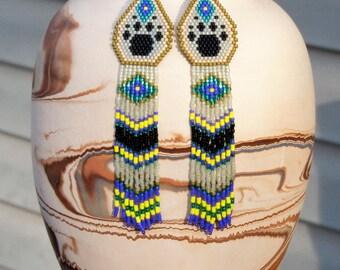 Wolf Paw Earrings - Beaded Fringe Earrings - Long Seed Bead Earrings - Dog Paw - Paw Print - Tribal Style Earrings