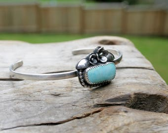 Turquoise and Flower Sterling Silver Cuff. Natural Royston Turquoise Handmade Flower silversmith metalwork metalsmith bracelet