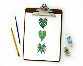 Leaf Trio Watercolor Print | Watercolor Art Print Monstera Philodendron Golden Pothos Leaves Illustration