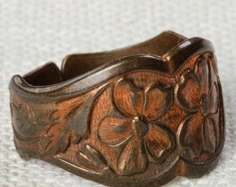 Vintage Copper Ring Adjustable Band Floral Etched Pattern Womens 16R