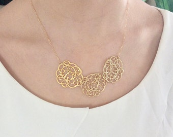 Statement Necklace, Bib Necklace, Gold Necklace Bridesmaid Necklace Birthday Gift Best Bridesmaid Gift, Best friend Gifts, Best selling item