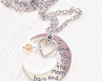 Je t'aime jusqu'à la lune et retour collier plaqué argent, cadeau de Saint Valentin pour femme ou petite amie, collier avec pendentif lune d'argent