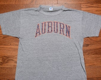 vintage 80s Auburn Tigers t-shirt 1980 soft thin burnout tee shirt USA Russell Made in USA heather gray grey 1980 Auburn t-shirt L