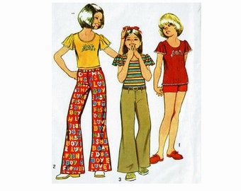 1970s Girls Size 8 Sewing Pattern Top with Butterfly Sleeves Bell Bottom Hip Hugger Pants and Shorts 70s Summer Fashion Simplicity 5535