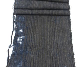 2 Japanese Boro Scraps. Striped Ikat Indigo Cotton Fabric. Folk Textile (Ref: 1765b/c)