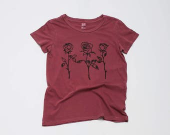 Roses are Red Tee, Rose Shirt, Floral Tee, Yoga Tee, Gardening Tee, Vintage Soft, S,M,L,XL