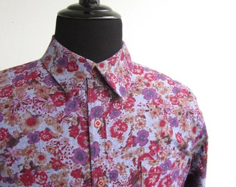 Men's Button Up Shirt Cotton Floral Chambray Long Sleeve Size Large 45""