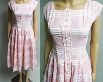 Vintage 1950s Dress//50s Dress/Pink//Rockabilly//New Look//Mod//Stripped Dress