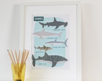 Sharks A4 Print, Sharks Children's Bedroom Art Print, Kids Underwater Print, Educational Sea Life A4 Print