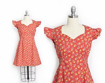 Vintage 60s Dress - Coral Cotton Floral Ruffle Mini Boho Day Dress 1960s - Small