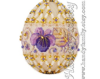 Easter Egg Beading set B185. Violets egg Robbon Beading kit. Bead Crafts. Learn to bead easy. DIY beading. DIY Easter Basket Size 6x4.5cm